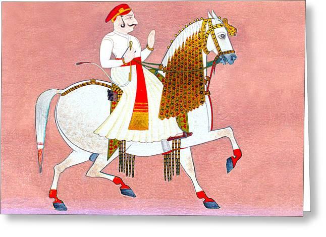 Red Photographs Drawings Greeting Cards - Raja on White Horse Greeting Card by Munir Alawi