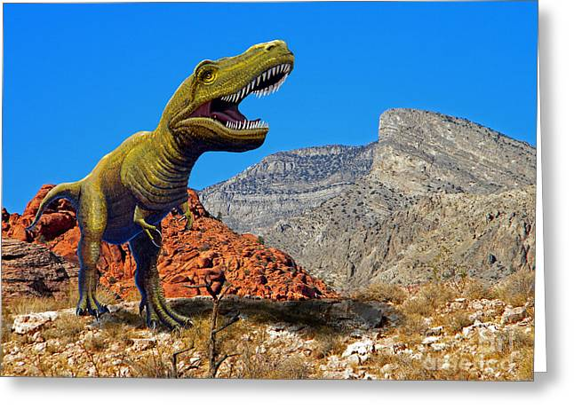 Dinosaurs Mixed Media Greeting Cards - Rajasaurus in The Desert Greeting Card by Frank Wilson