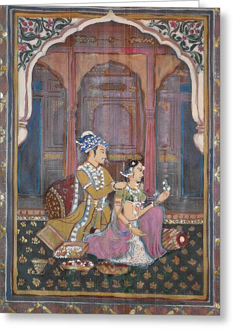 Royal Art Greeting Cards - Rajasthani and Mogul Palace Greeting Card by Vikram Singh