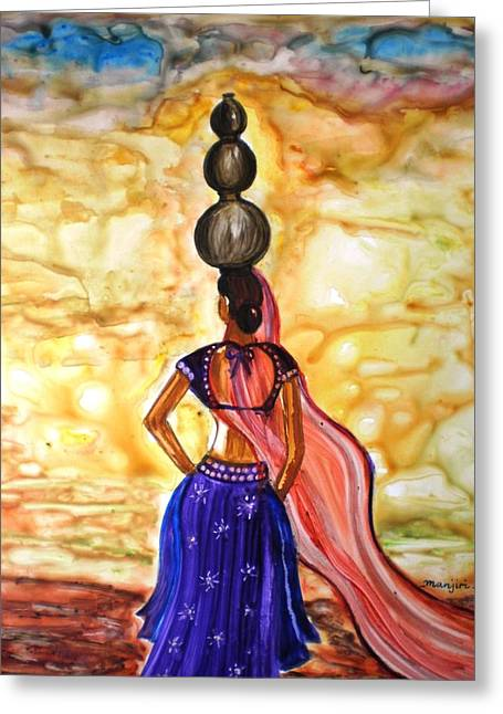 Empower Paintings Greeting Cards - Rajasthani Lady-Allure Greeting Card by Manjiri Kanvinde