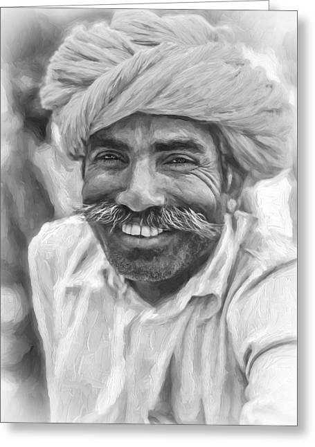 Rajput High School Teacher - Paint Bw Greeting Card by Steve Harrington
