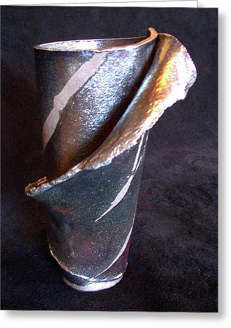 Hand-made Ceramics Greeting Cards - Raku Slab Wrapped Vase Greeting Card by Carolyn Coffey Wallace