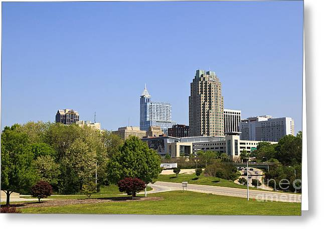 Uptown Rooftop Greeting Cards - Raleigh North Carolina Skyline Greeting Card by Jill Lang