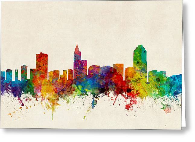 Carolina Greeting Cards - Raleigh North Carolina Skyline Greeting Card by Michael Tompsett
