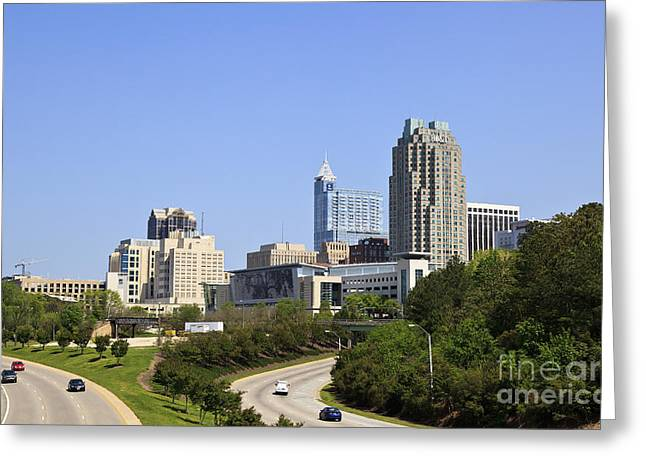 Uptown Rooftop Greeting Cards - Raleigh Skyline Greeting Card by Jill Lang