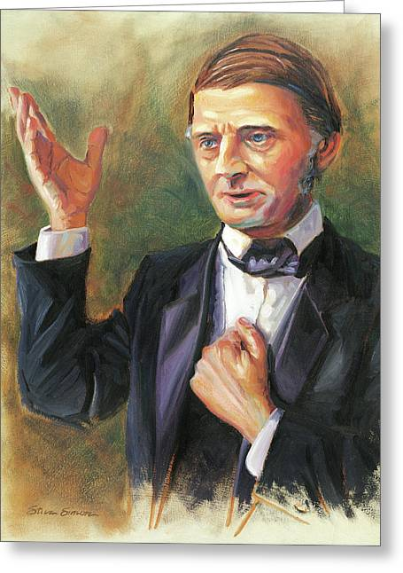 Emerson Greeting Cards - Ralph Waldo Emerson Greeting Card by Steve Simon