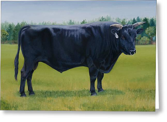 Kobe Greeting Cards - Ralphs Bull Greeting Card by Stacey Neumiller