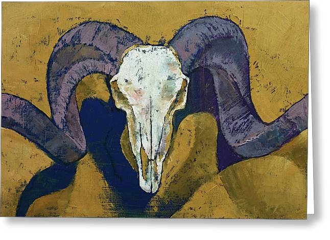 Yellow Ochre Greeting Cards - Ram Skull Greeting Card by Michael Creese