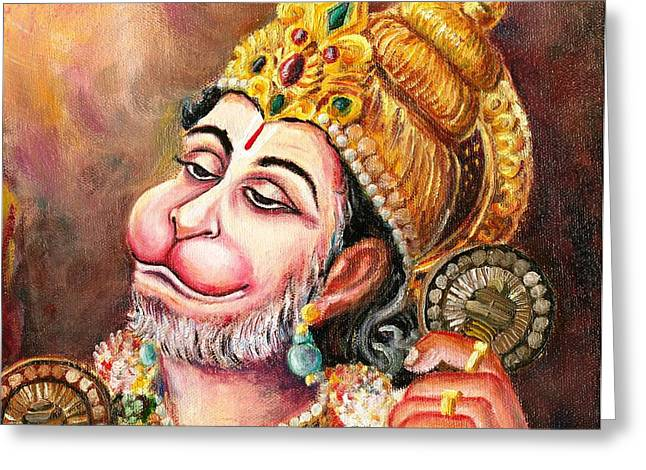 Best Sellers -  - Hindu Goddess Greeting Cards - Rama naama japo Greeting Card by Murali