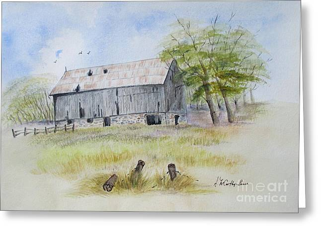 Old Fence Posts Paintings Greeting Cards - Rama Township Barn Greeting Card by April McCarthy-Braca
