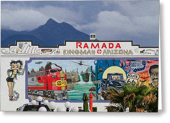 Ramada Kingman Arizona Greeting Card by Bonnie Follett