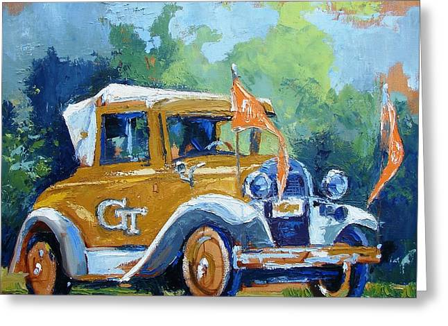 Car Mascot Paintings Greeting Cards - Ga Tech Ramblin Wreck - part of college series Greeting Card by Karen Mayer Johnston