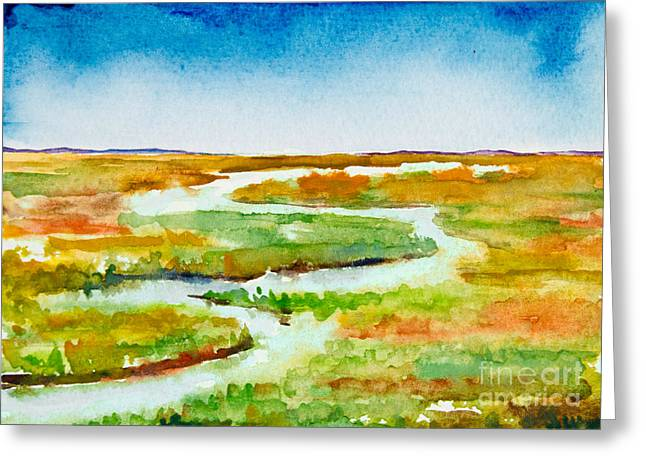 Marsh Scene Greeting Cards - Rambling Greeting Card by Alexandra Nicole Newton