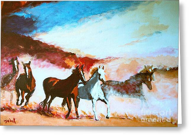 Horse Herd Greeting Cards - Rampage Greeting Card by Judy Kay
