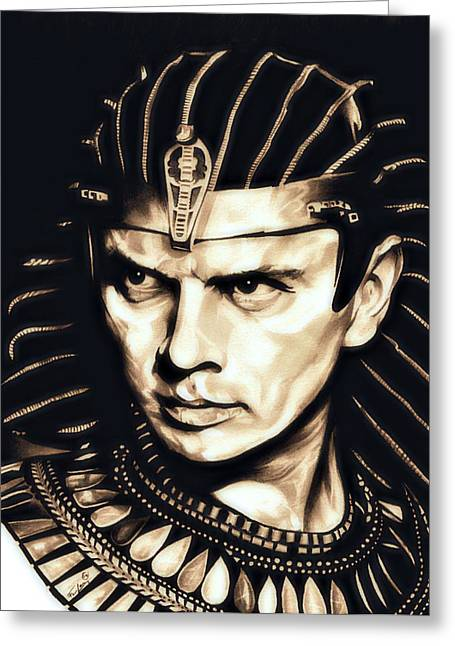 Pharaoh Drawings Greeting Cards - Ramses II Greeting Card by Fred Larucci