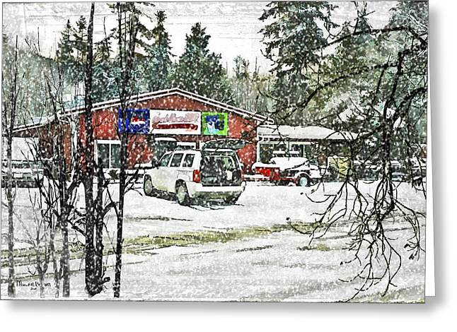 Snow-covered Landscape Digital Art Greeting Cards - Ranch House BBQ Greeting Card by Marvin C Brown