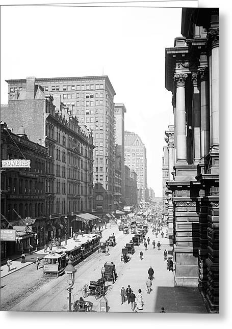 Randolph Street Chicago 1900 Greeting Card by Daniel Hagerman
