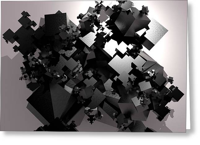 Generative Abstract Greeting Cards - Random Black Crystals Greeting Card by Danilo JR