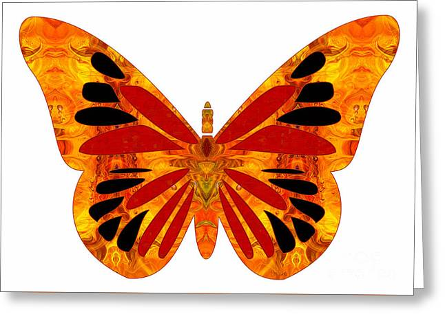 Green And Yellow Glass Greeting Cards - Random Order And Abstract Butterflies by Omashte Greeting Card by Omaste Witkowski