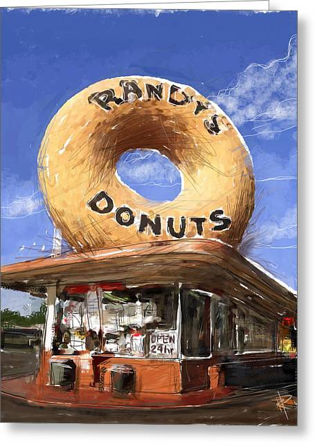 Randy Mixed Media Greeting Cards - Randys Donuts Greeting Card by Russell Pierce