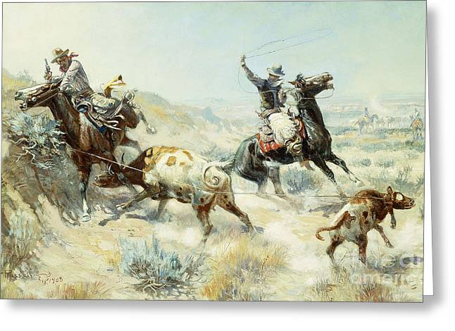 Herders Greeting Cards - Range Mother Greeting Card by Charles Marion Russell