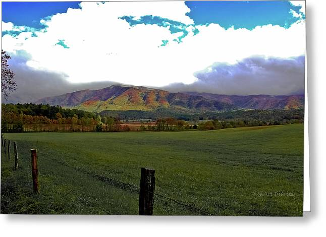 Range Neath the Mountain Greeting Card by DigiArt Diaries by Vicky B Fuller