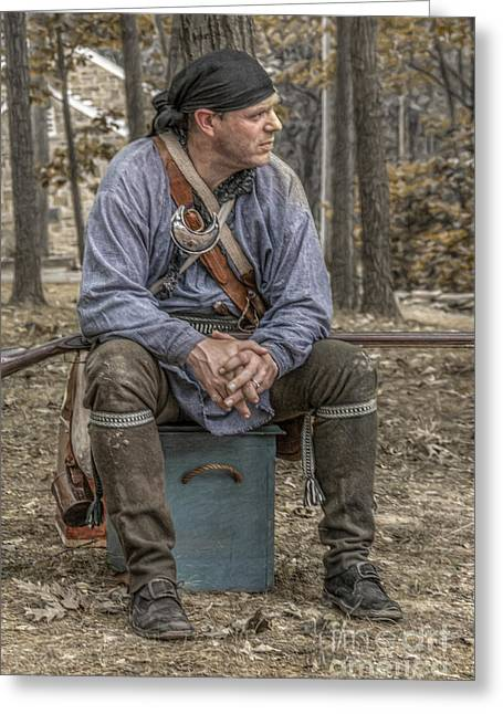 Rogers Rangers Greeting Cards - Ranger in Camp Greeting Card by Randy Steele