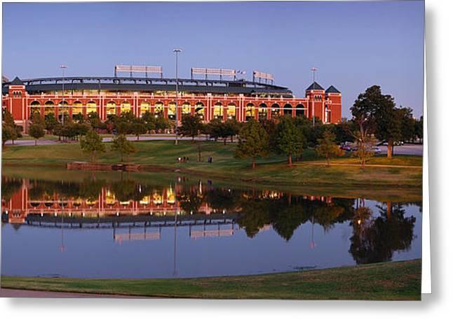 Texas Rangers Greeting Cards - Rangers Ballpark in Arlington at DUSK Greeting Card by Jon Holiday
