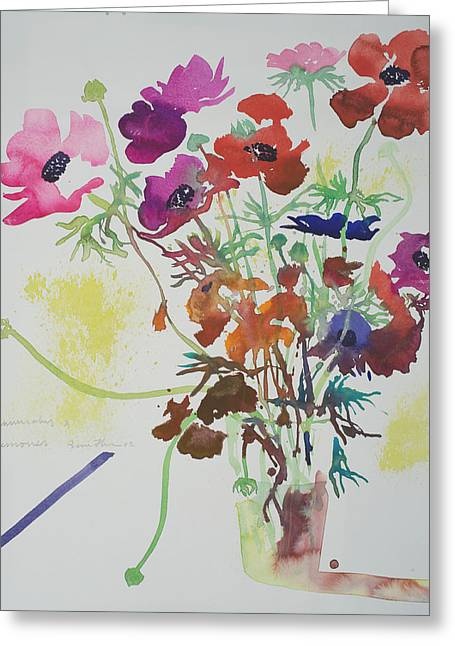 Flower Still Life Greeting Cards - Ranunculus and anemones Greeting Card by Simon Fletcher