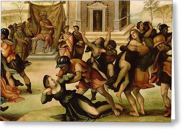 Rape Of The Sabines Greeting Card by Girolamo del Pacchia