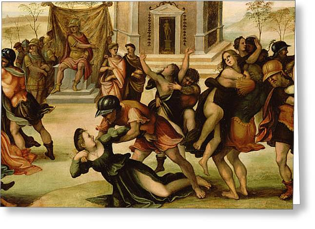 Abduction Greeting Cards - Rape of the Sabines Greeting Card by Girolamo del Pacchia