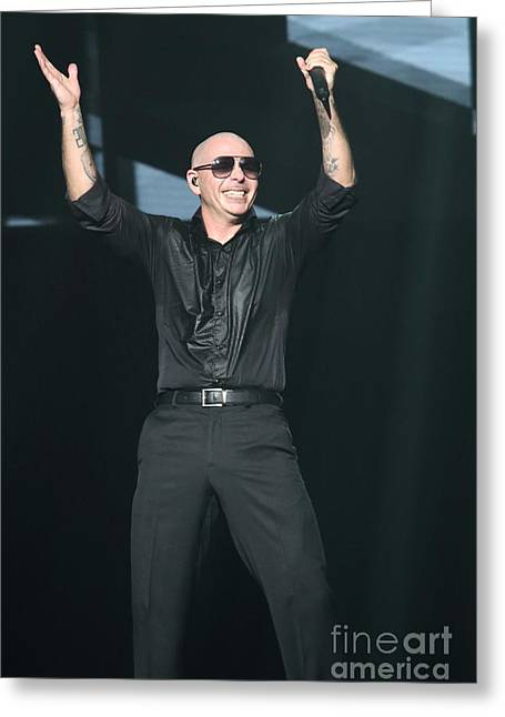 Rapper Pitbull Greeting Card by Front Row Photographs
