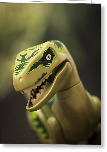 Jurassic Park Greeting Cards - Raptor on the Hunt Greeting Card by Samuel Whitton