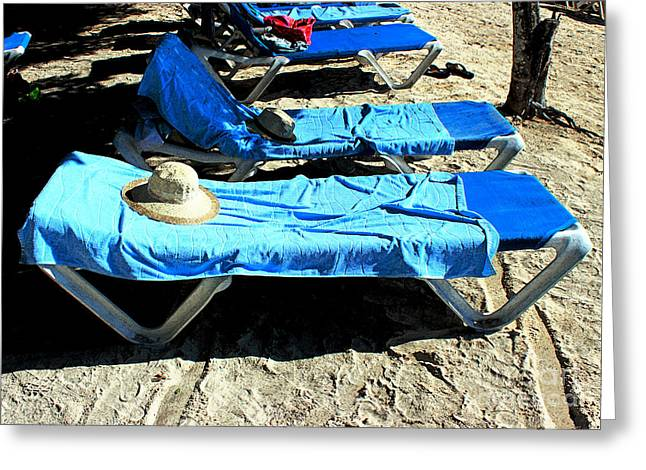 Chaise-lounge Greeting Cards - Rapture By The Beach Greeting Card by Steve C Heckman