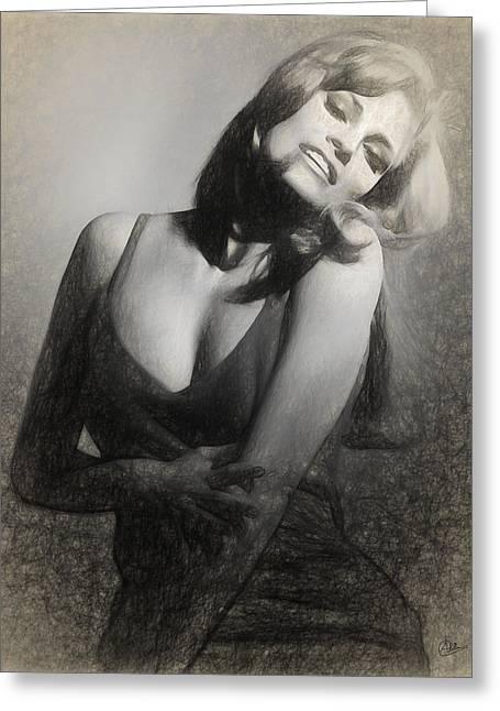 Raquel Welch Greeting Card by Quim Abella