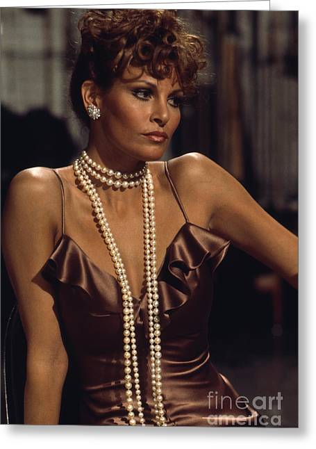 Raquel Welch Greeting Card by Terry O'Neill