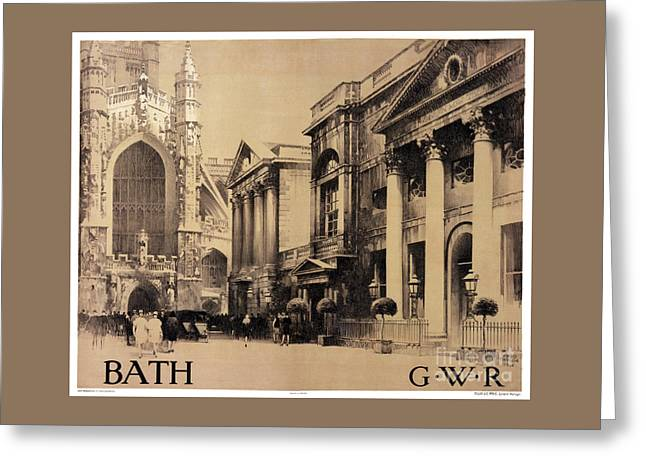 Europe Mixed Media Greeting Cards - Rare Bath Vintage Travel Poster Restored Greeting Card by Carsten Reisinger