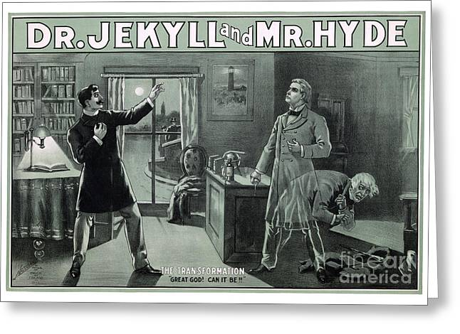 Medical Greeting Cards - Rare Dr. Jekyll and Mr. Hyde Transformation Poster Greeting Card by Carsten Reisinger