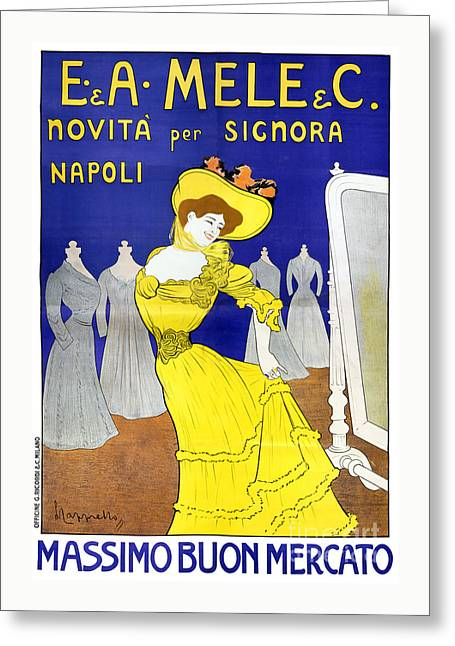 Europe Mixed Media Greeting Cards - Rare E. A. Mele, Naples, Italy 1902 Vintage Poster Greeting Card by Carsten Reisinger
