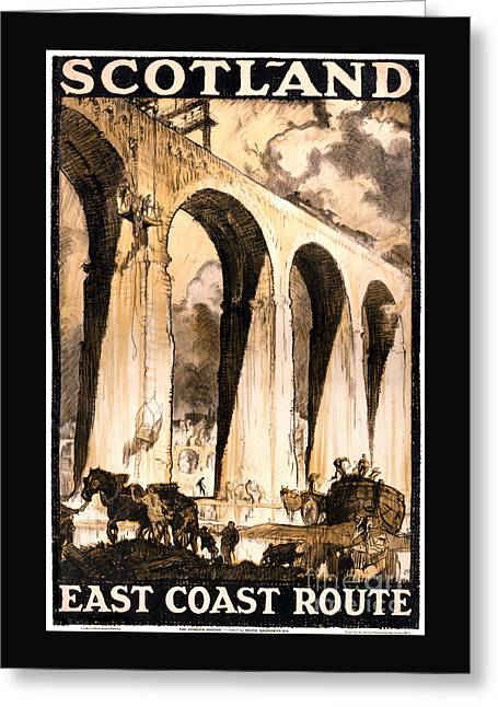 Europe Mixed Media Greeting Cards - Rare Scotland Vintage Travel Poster Restored Greeting Card by Carsten Reisinger