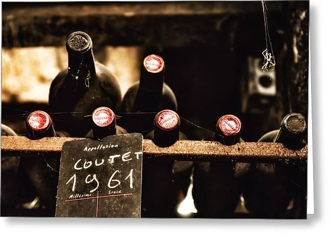 Cellar Greeting Cards - Rare Vintage Wine in the Cellar Greeting Card by Nomad Art And  Design