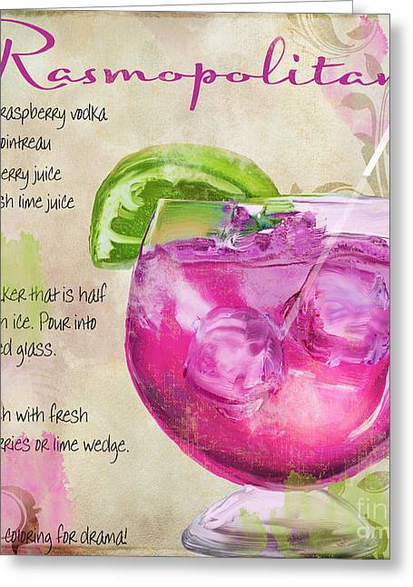 Long Island Paintings Greeting Cards - Rasmopolitan Mixed Cocktail Recipe Sign Greeting Card by Mindy Sommers
