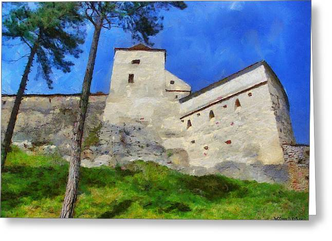 Dracula Digital Greeting Cards - Rasnov Fortress Greeting Card by Jeff Kolker
