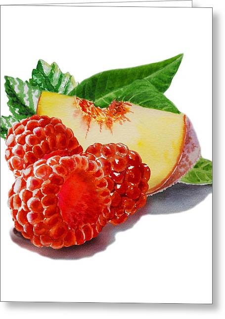 Labelled Greeting Cards - Raspberries And Peach Greeting Card by Irina Sztukowski