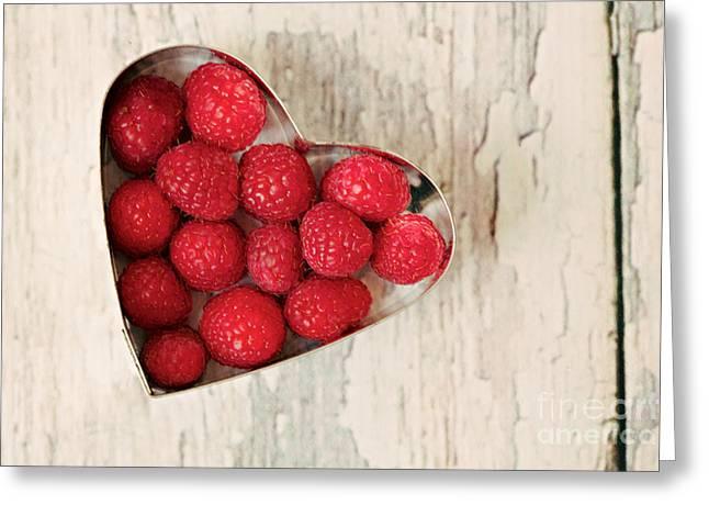 Raspberry Heart Greeting Card by Kim Fearheiley