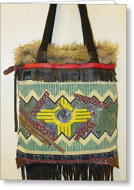 Repurposed Greeting Cards - Rasta Inspired Tribal Tote Greeting Card by Lorraine Stone