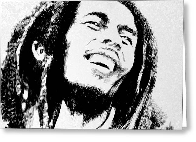 Robbi Musser Drawings Greeting Cards - Rasta Man Greeting Card by Robbi  Musser