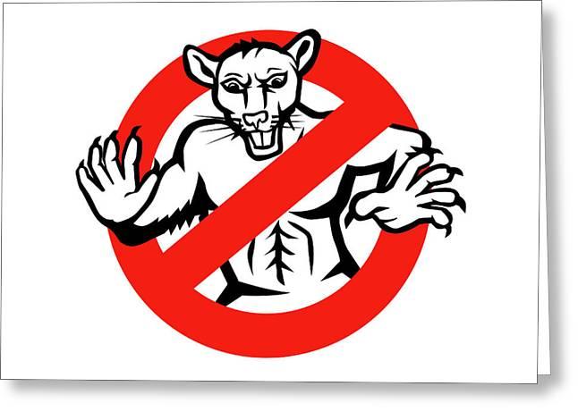 Rat Busted Stop Sign Retro Greeting Card by Aloysius Patrimonio