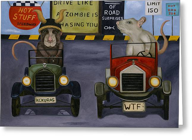 Go Cart Greeting Cards - Rat Race 4 Greeting Card by Leah Saulnier The Painting Maniac