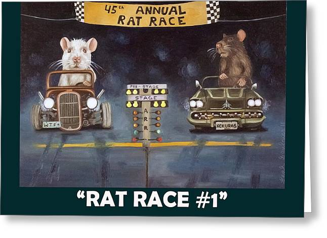 Rat Race With Lettering Greeting Card by Leah Saulnier The Painting Maniac